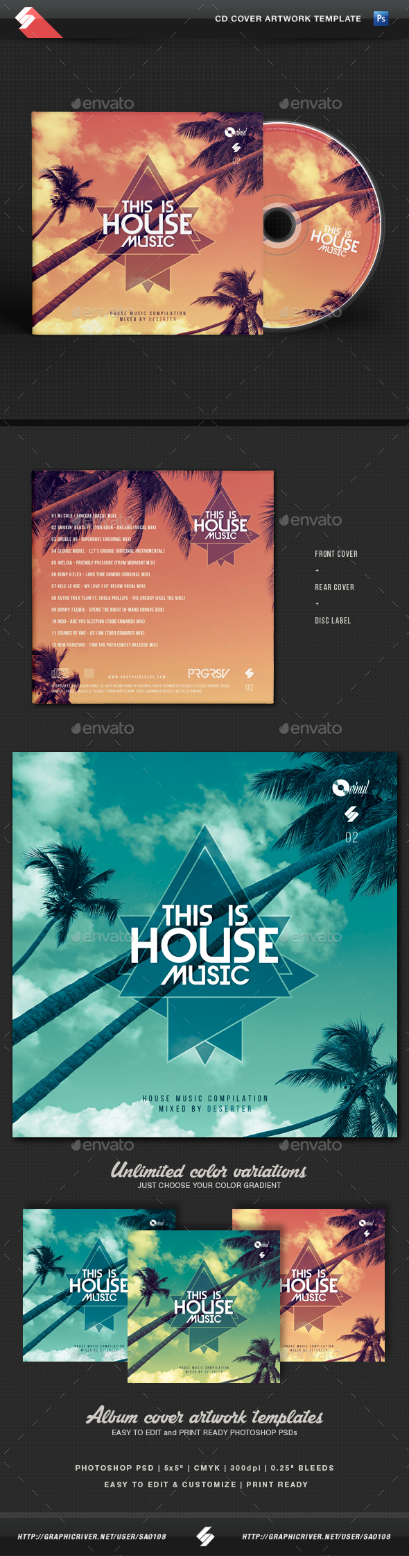 cd case artwork template - this is house music vol 2 cd cover artwork template by