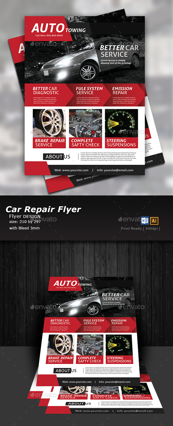 automobile towing flyer template by designcrew graphicriver