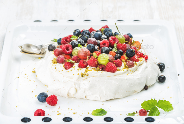 Homemade Pavlova cake - Stock Photo - Images