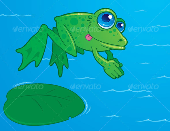 Diving Frog Cartoon - Animals Characters