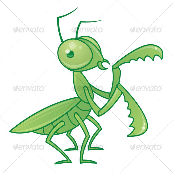 Praying Mantis Cartoon Character - Animals Characters