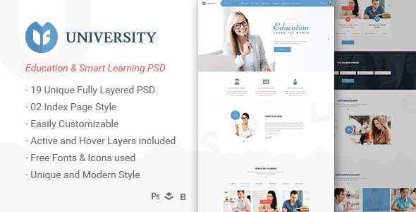 University – Education & Smart Learning Bootstrap PSD Template