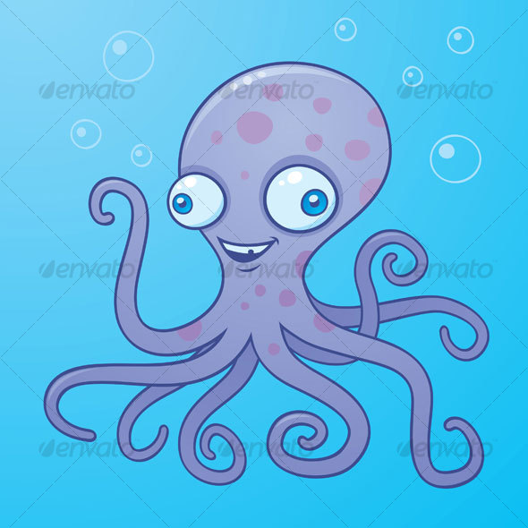 Silly Octopus Cartoon Character - Animals Characters