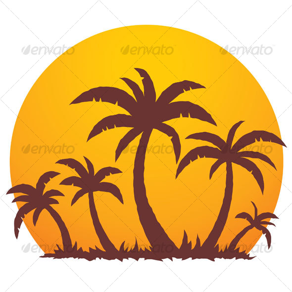 Palm Trees And Summer Sunset - Travel Conceptual