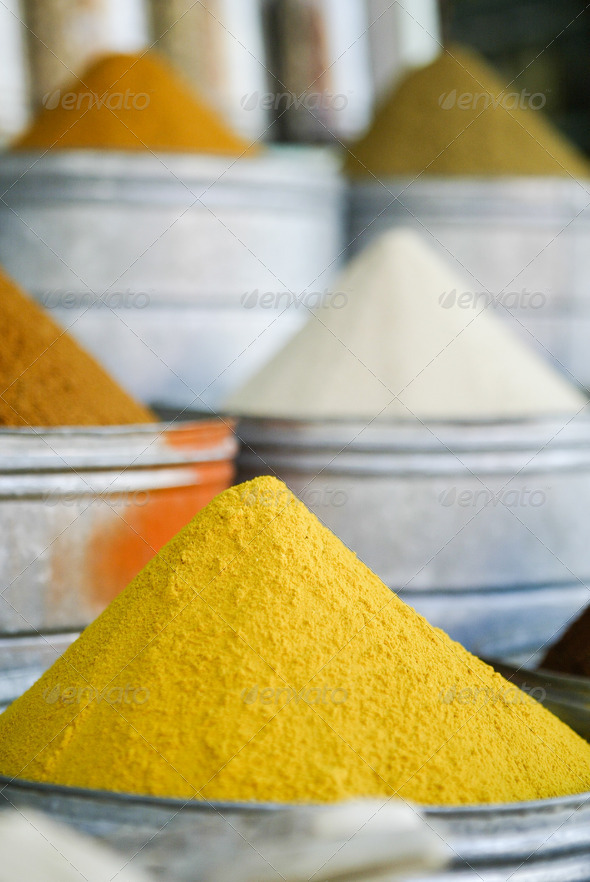 spice pile in street market  - Stock Photo - Images