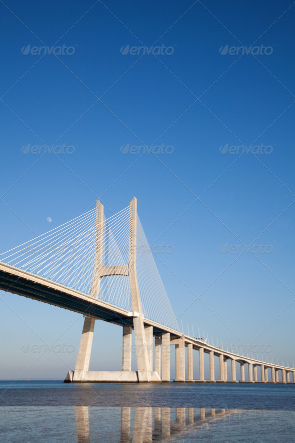 Vasco da Gama bridge in Lisbon  - Stock Photo - Images
