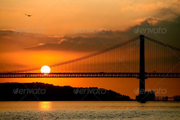 Lisbon bridge on sunset  - Stock Photo - Images