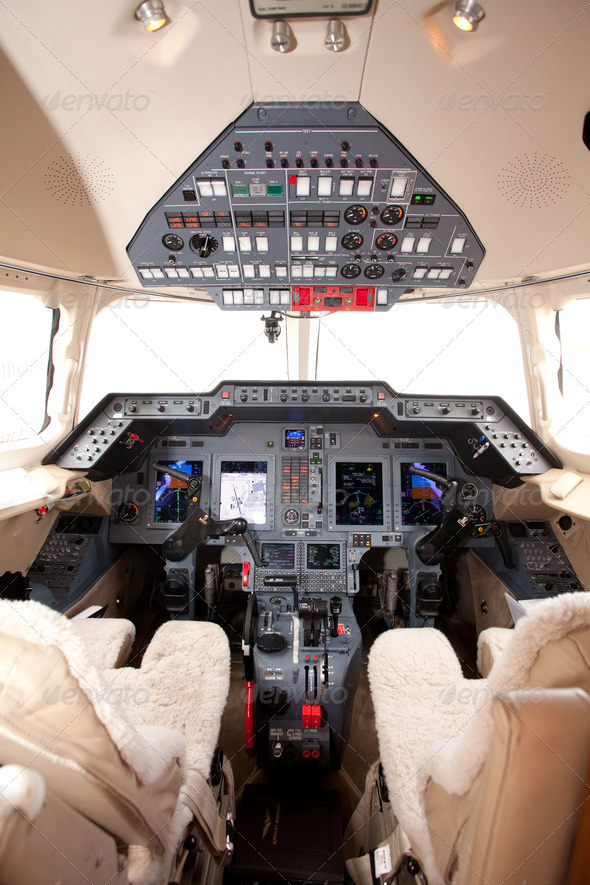 airplane cockpit controls - Stock Photo - Images
