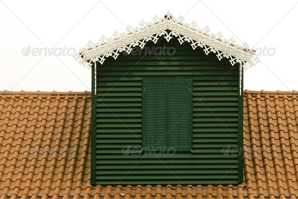 green window in rooftop  - Stock Photo - Images