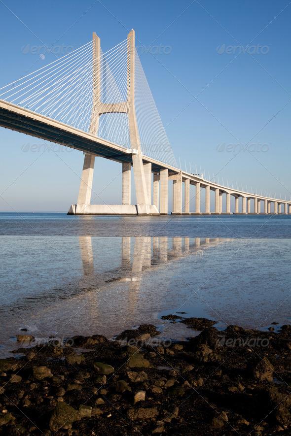 Vasco da Gama bridge in Lisbon  - Stock Photo - Images
