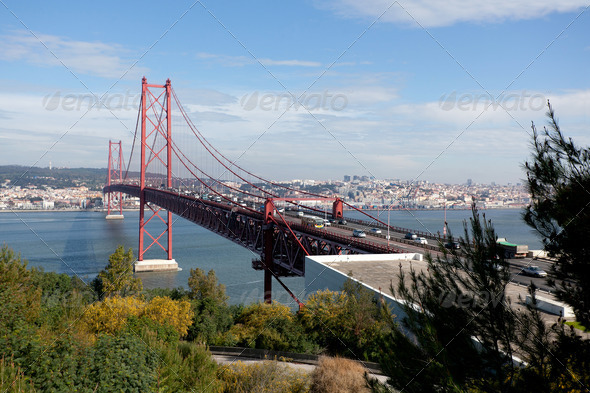 Bridge with heavy traffic  - Stock Photo - Images