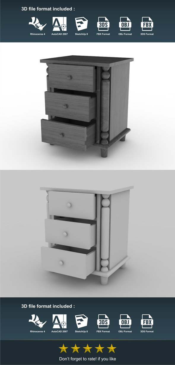 Bed Side - 3DOcean Item for Sale