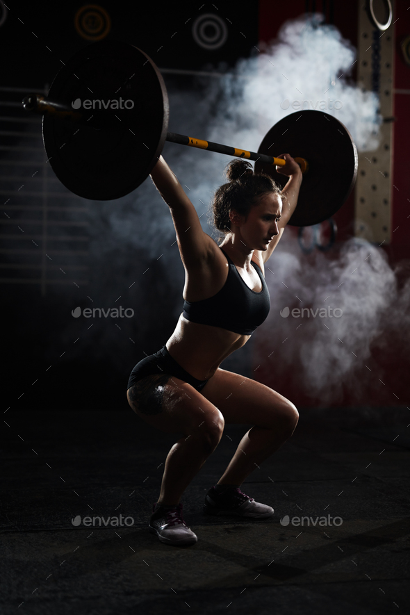 Workout with barbell - Stock Photo - Images