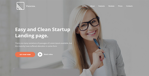 Vanessa -  Easy Startup Landing Page WP Theme