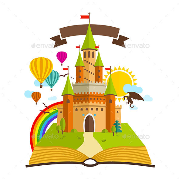 Fairy Tale Castle with Book - Buildings Objects