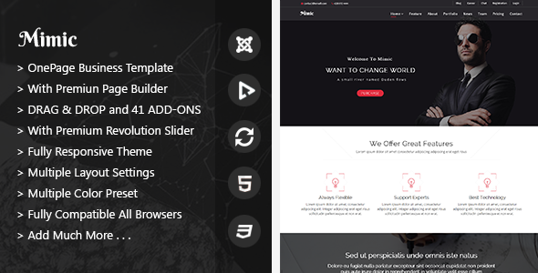 Mimic – OnePage Joomla Business Template