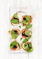 Caprese sandwiches with tomato, mozzarella cheese