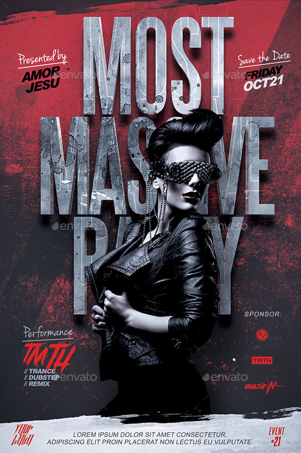 Most Massive Party Flyer Template By Amorjesu  Graphicriver