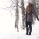 Blonde Woman Is Walking In The Winter Park - VideoHive Item for Sale