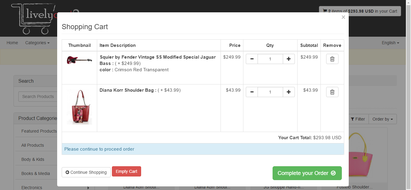 Livelycart 2 a quick and simple javascript php shopping cart