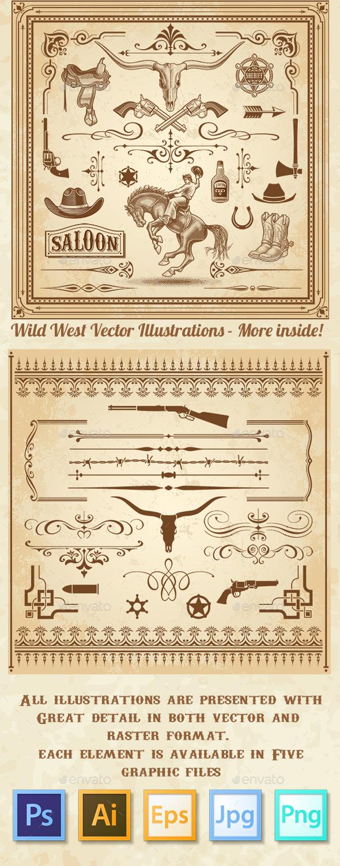 Wild West Decorations Set - Decorative Symbols Decorative