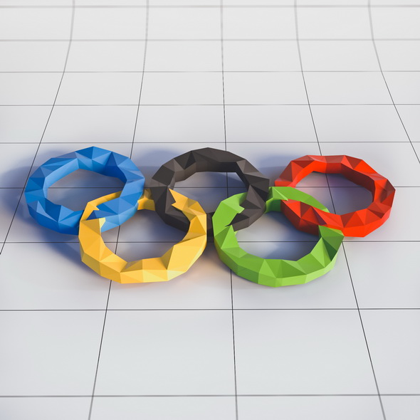Olympic Rings Logo in Low Poly Style - 3DOcean Item for Sale