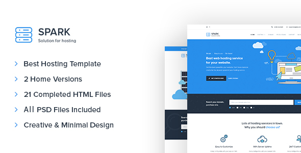 Spark - Responsive Hosting, Domain, Technology Site Template