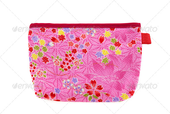 Pink and red flower pocket bag with leaves and hearts - Stock Photo - Images
