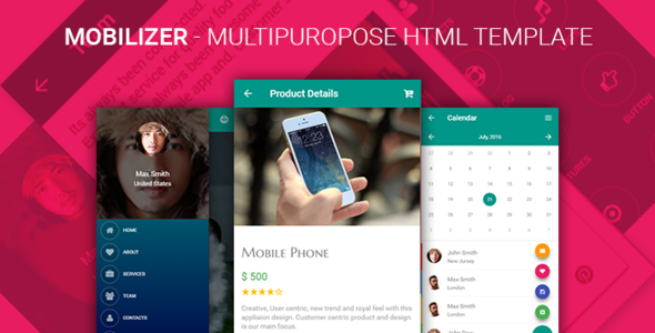 Mobilizer – Multi Purpose Responsive HTML Mobile & Tablet