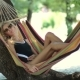 Woman Lying In Hammock In Tree's Shadow On Beach - VideoHive Item for Sale