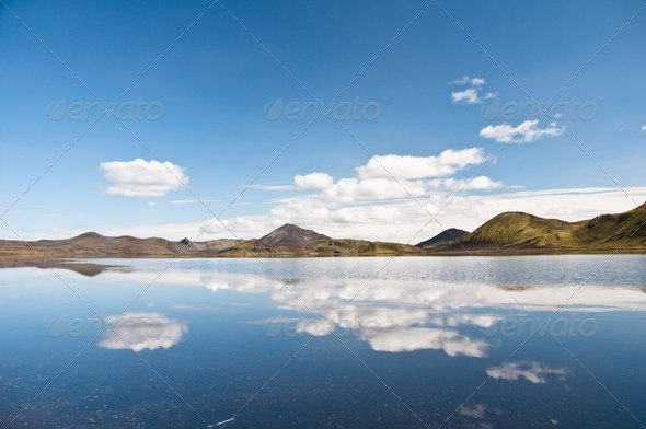 beautiful mountains reflectng in the lake - Stock Photo - Images