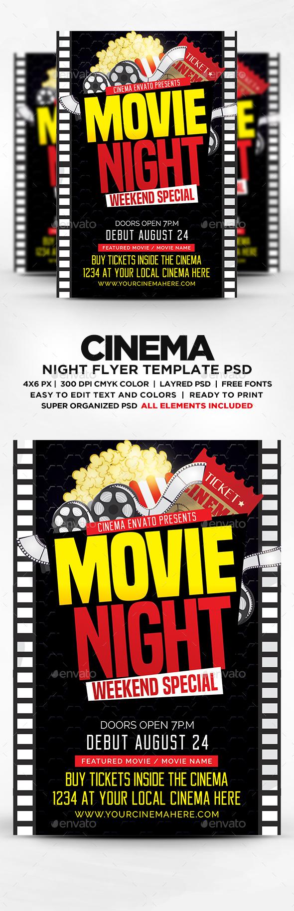 Movie Night Flyer Template PSD by DESIGNBLEND – Movie Night Flyer Template