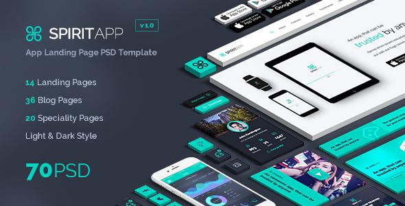 SpiritApp – App Landing Page PSD Template