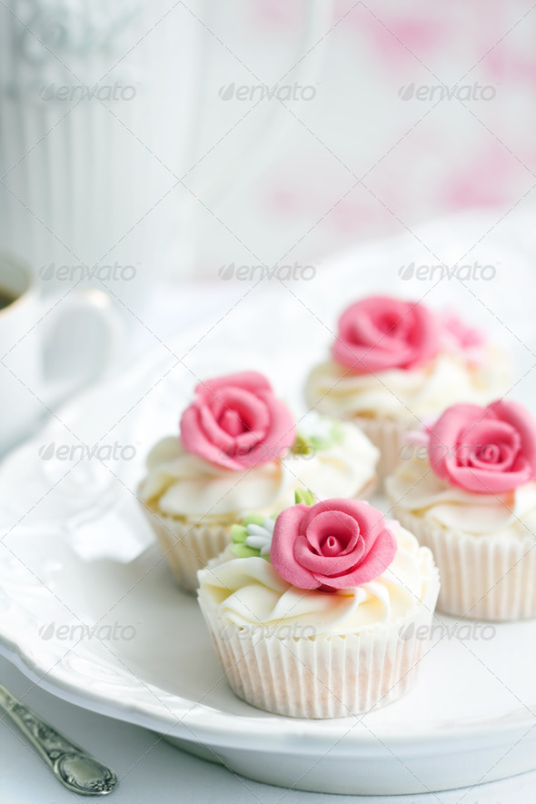 Rose cupcakes - Stock Photo - Images