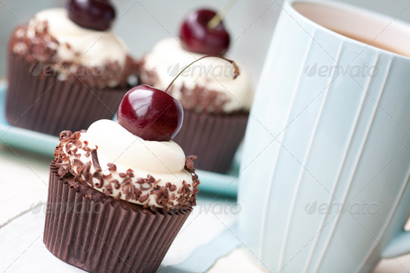 Black forest cupcakes - Stock Photo - Images