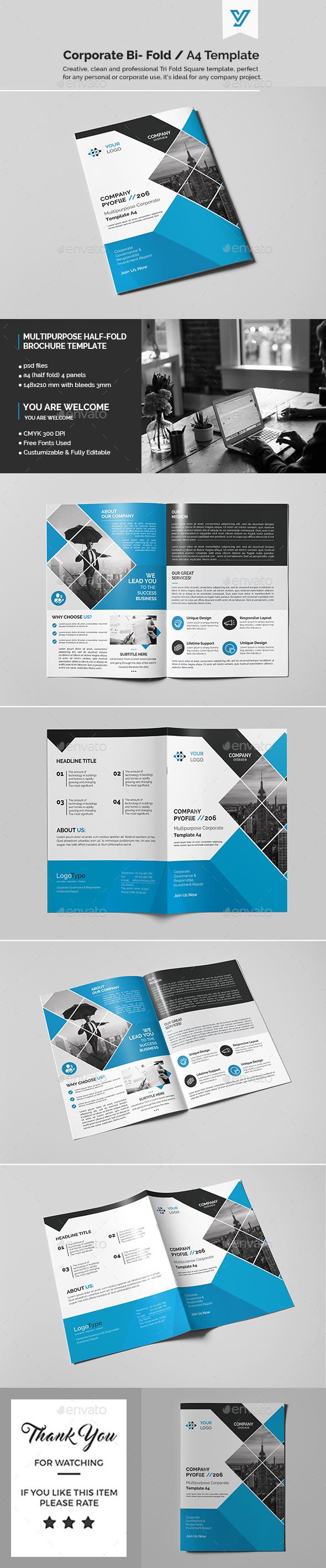 corporate bi fold brochure template catalogs brochures - Bi Fold Brochure Template