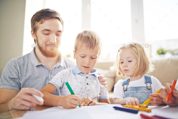 Drawing at home - Stock Photo - Images