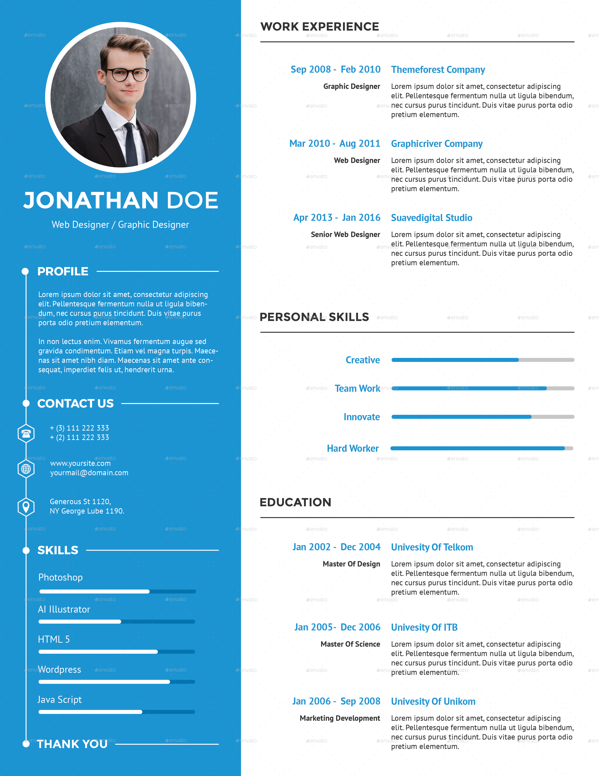 clean creative resume by suavedigital