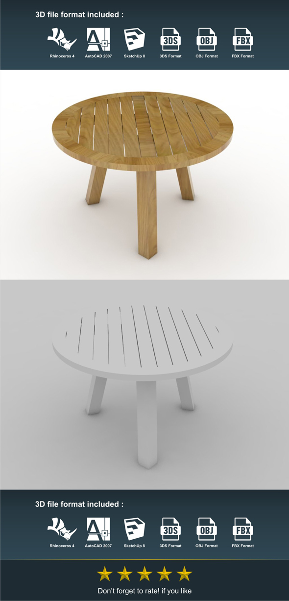 Bunder Table - 3DOcean Item for Sale