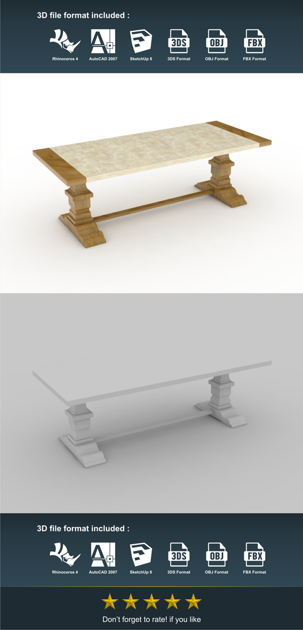 Marble Dining Table - 3DOcean Item for Sale
