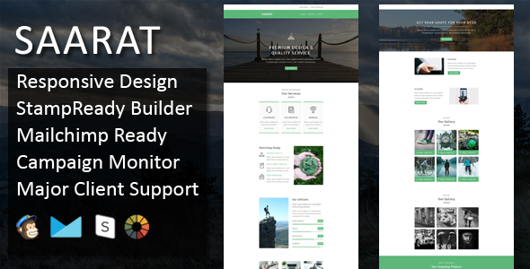 SAARAT - Multipurpose Responsive Email Template + Stampready Online Builder Access