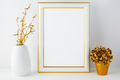 Frame mockup with white vase and golden flower pot - PhotoDune Item for Sale