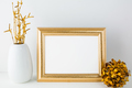Landscape gold frame mockup with golden decor - PhotoDune Item for Sale