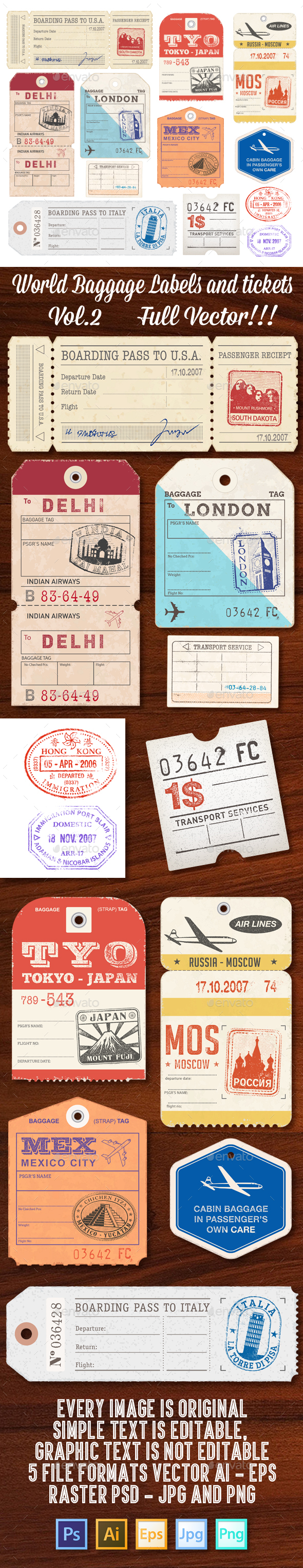 World Luggage Tags Set 2 - Travel Conceptual