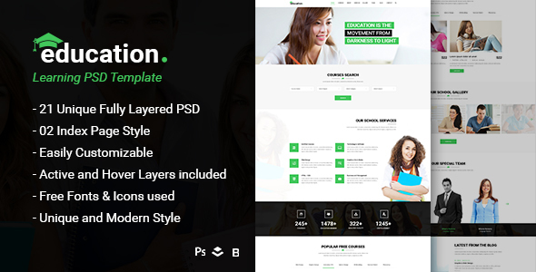 Education – Learning Bootstrap PSD Template