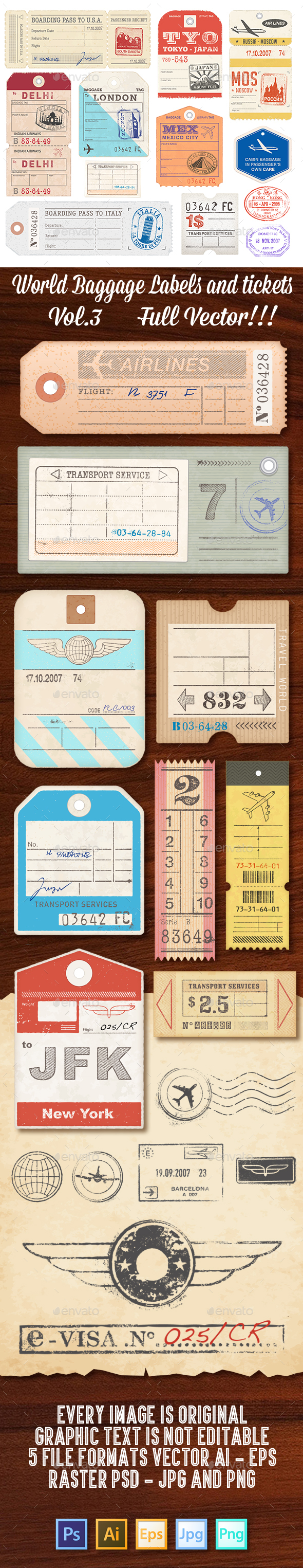 World Luggage Tags Set 3