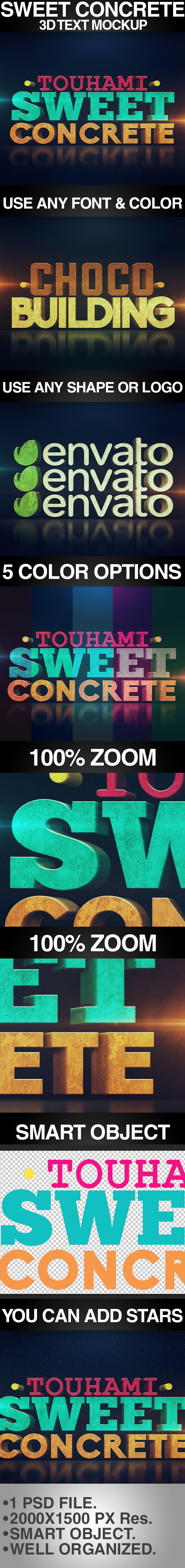 Sweet Concrete 3D Text Mockup - Text Effects Styles