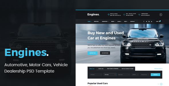 Engines – Automotive, Motor Cars, Vehicle Dealership PSD Template