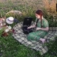 Young Girl On Picnic Chooses a Record, Puts It On The Gramophone And Listen - VideoHive Item for Sale