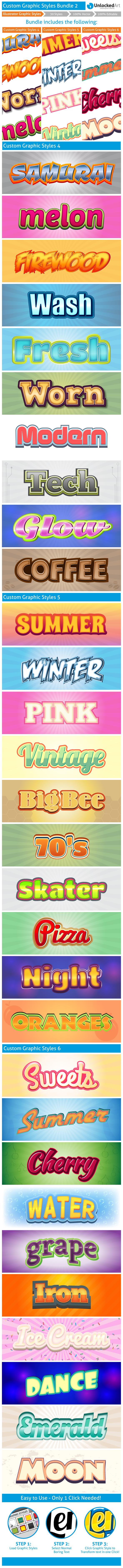Custom Graphic Styles Bundle 2 - Styles Illustrator